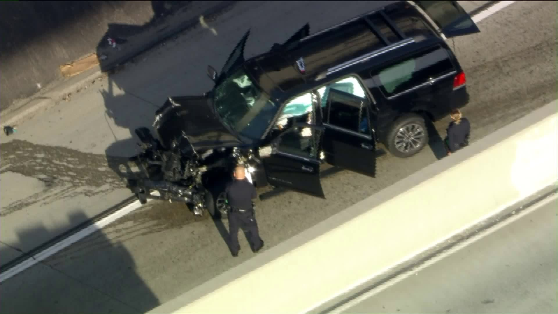 An SUV is seen after crashing on the 110 Freeway in South L.A. on Feb. 27, 2020. (KTLA)