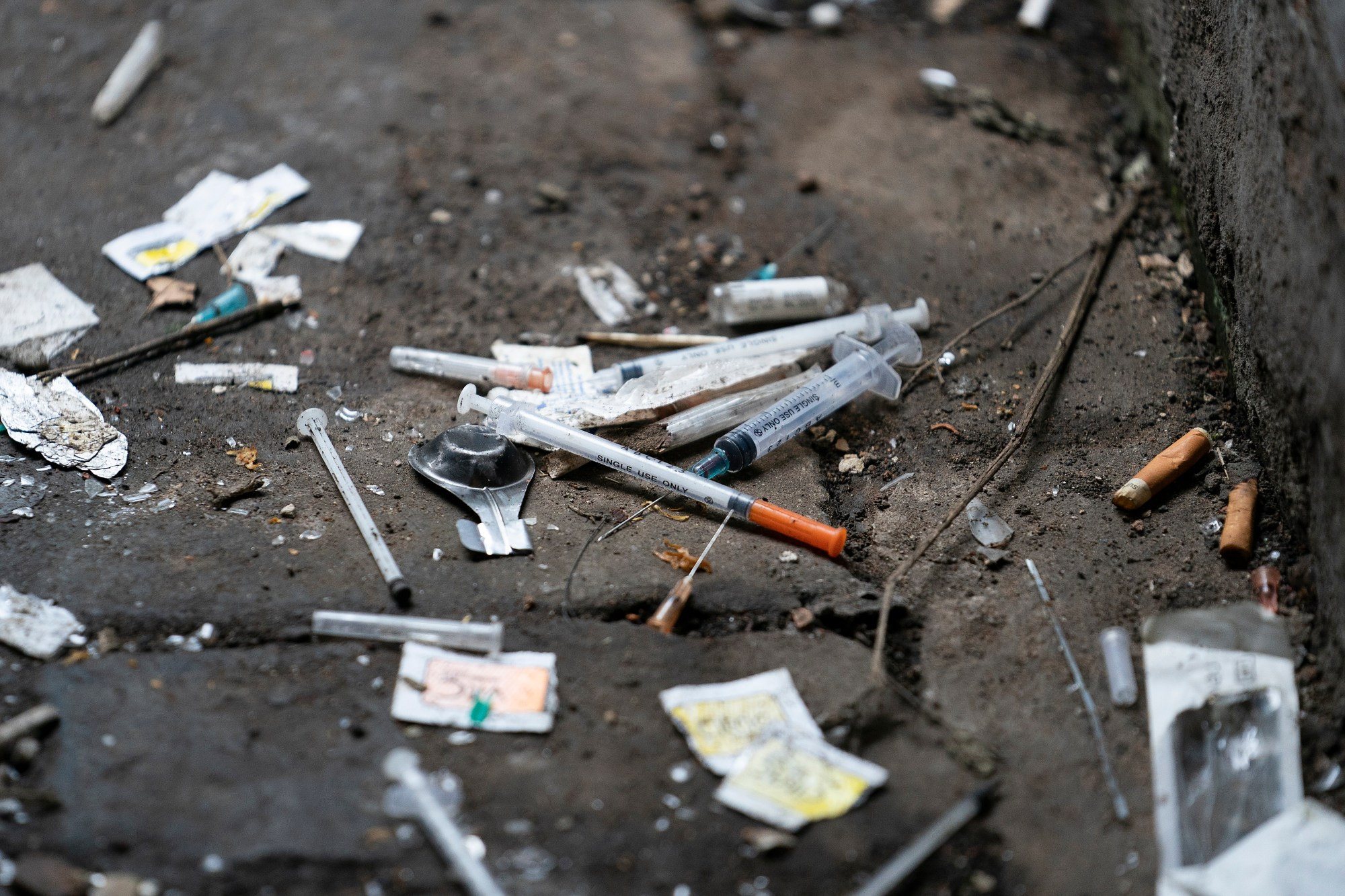 Syringes and paraphernalia used by drug users litter an alley on Dec. 06, 2018, in Walsall, England. (Christopher Furlong/Getty Images)