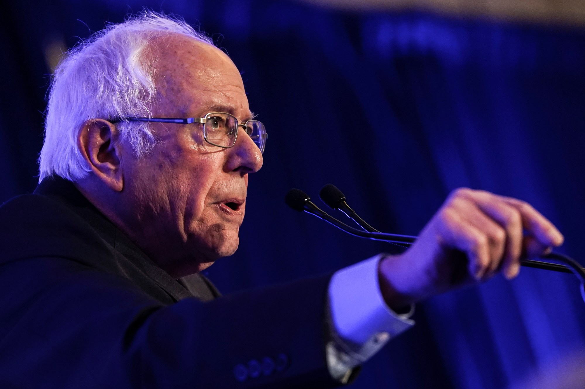 "Sen. Bernie Sanders (I-VT) speaks at the South Carolina Democratic Party ""First in the South"" dinner on Feb. 24, 2020 in Charleston, South Carolina. (Drew Angerer/Getty Images)"