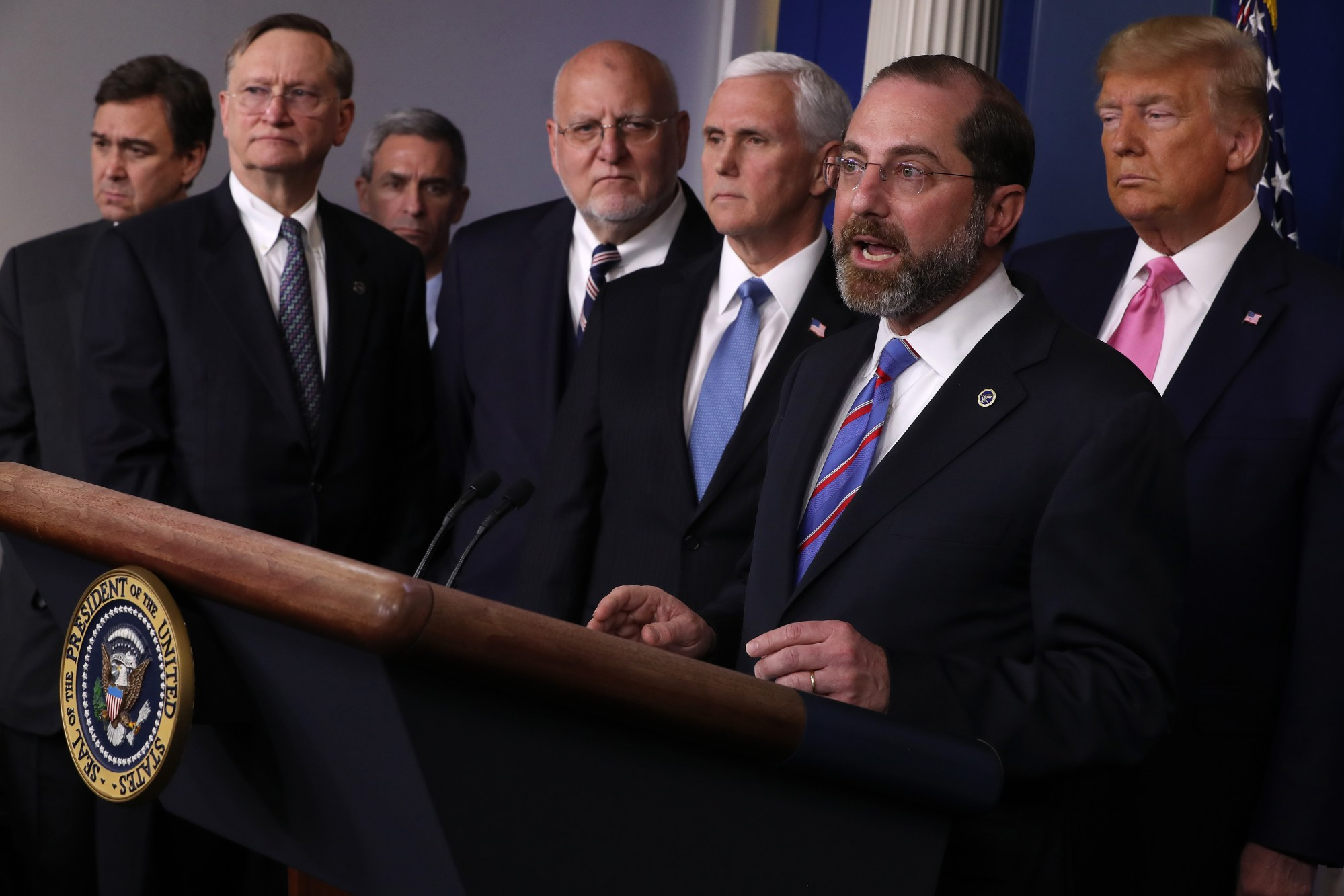 U.S. Health and Human Services Secretary Alex Azar speaks alongside President Donald Trump and other federal officials in the Brady Press Briefing Room at the White House, Feb. 26, 2020, in Washington, D.C. The health department head outlined U.S. efforts to mitigate spread of the coronavirus. (Chip Somodevilla/Getty Images)