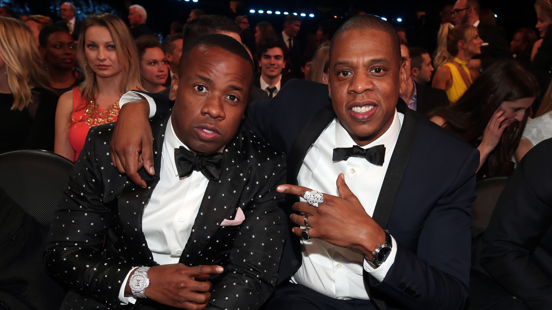 Artists Yo Gotti and Jay-Z pose during the 59th GRAMMY Awards at Staples Center on Feb. 12, 2017, in Los Angeles, California. (Credit: Christopher Polk/Getty Images for NARAS)
