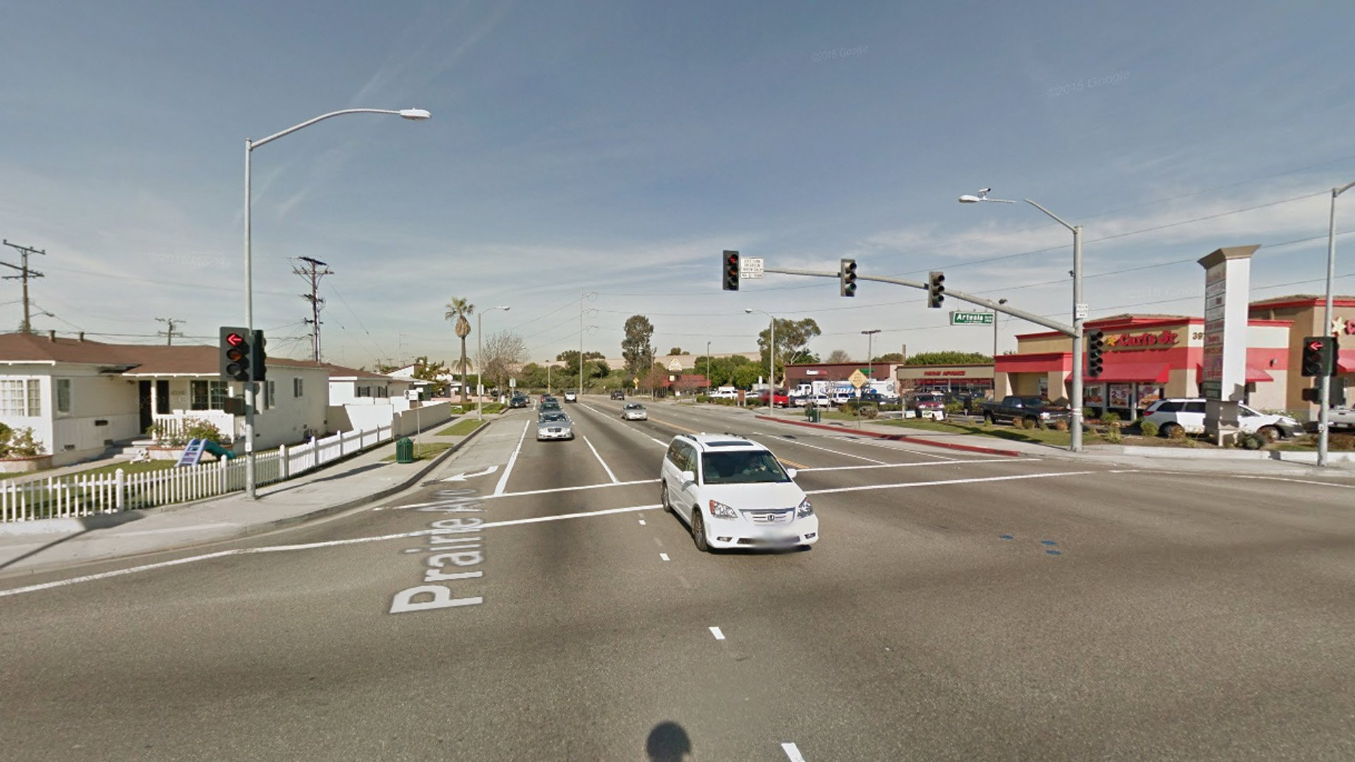 The intersection of Prairie Avenue and Artesia Boulevard in Torrance is seen in a photo from Google Maps.