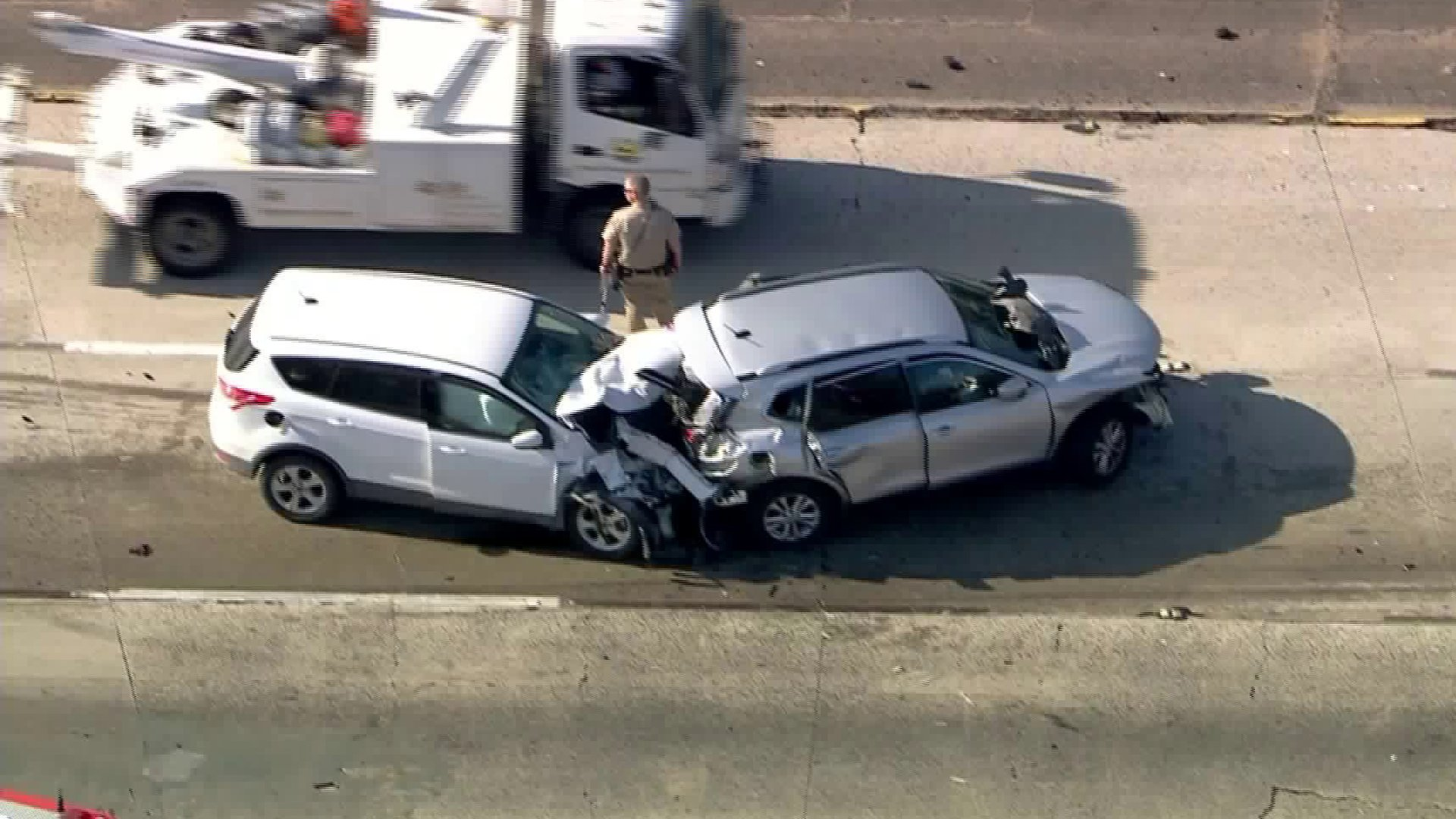Two SUVs were involved in a crash on the 210 Freeway in Sylmar on Feb. 14, 2020. (Credit: KTLA)