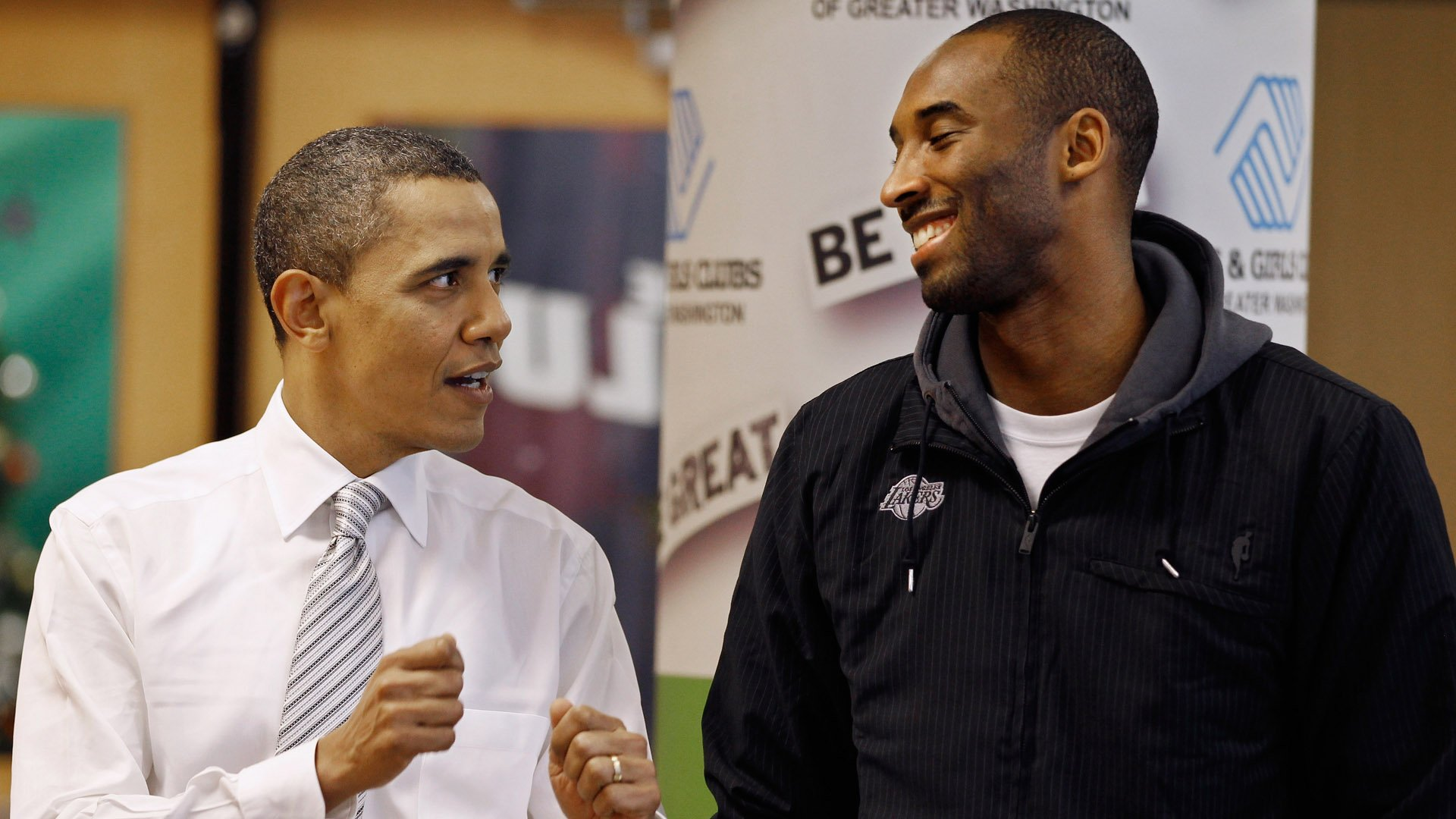Barack Obama talks with Kobe Bryant while filling care packages during a NBA Cares service event at the Boys and Girls Club on Dec. 13, 2010, in Washington, DC. (Credit: Chip Somodevilla/Getty Images)