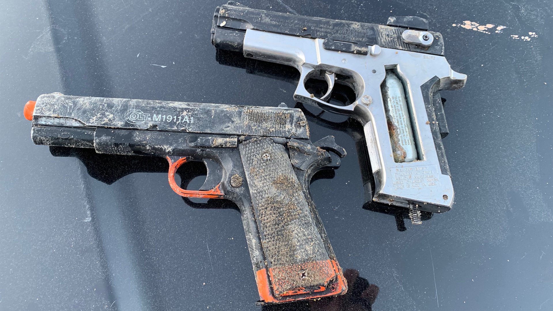 Police found two replica firearms after arresting Jeffrey Wheelock, 27, on Feb. 25, 2020. (Ventura Police Department)