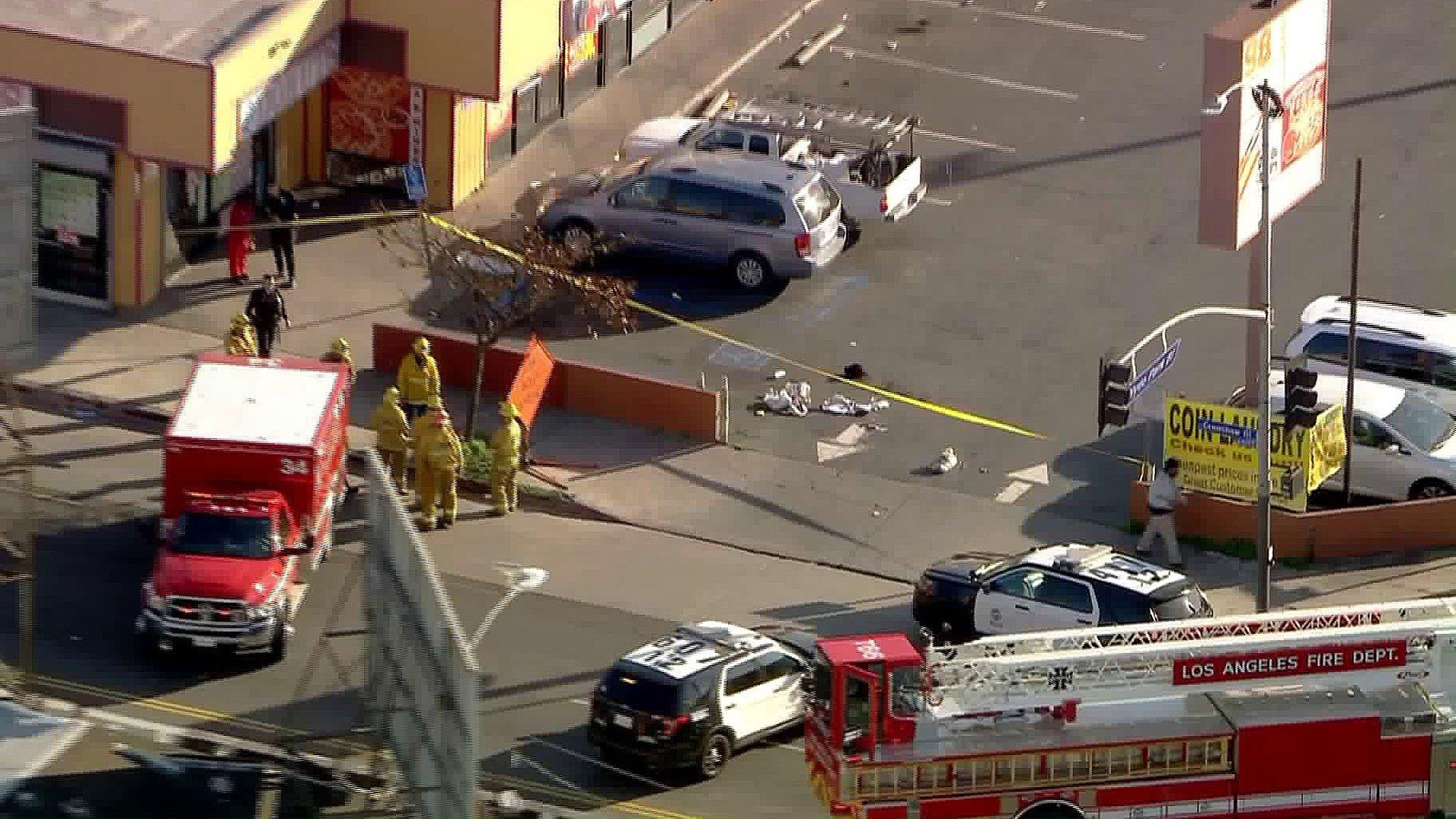 Emergency crews respond to a shooting in Hyde Park on Feb. 10, 2020. (Credit: KTLA)