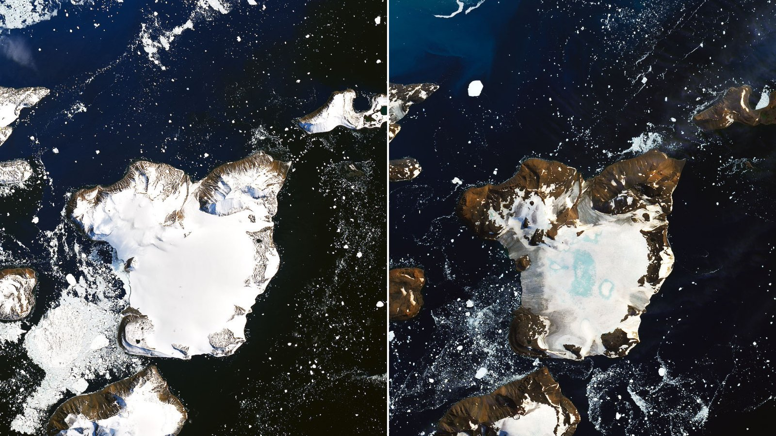 Before-and-after satellite images from NASA show how much ice melted on Antarctica's Eagle Island over a nine-day heat wave in February 2020.