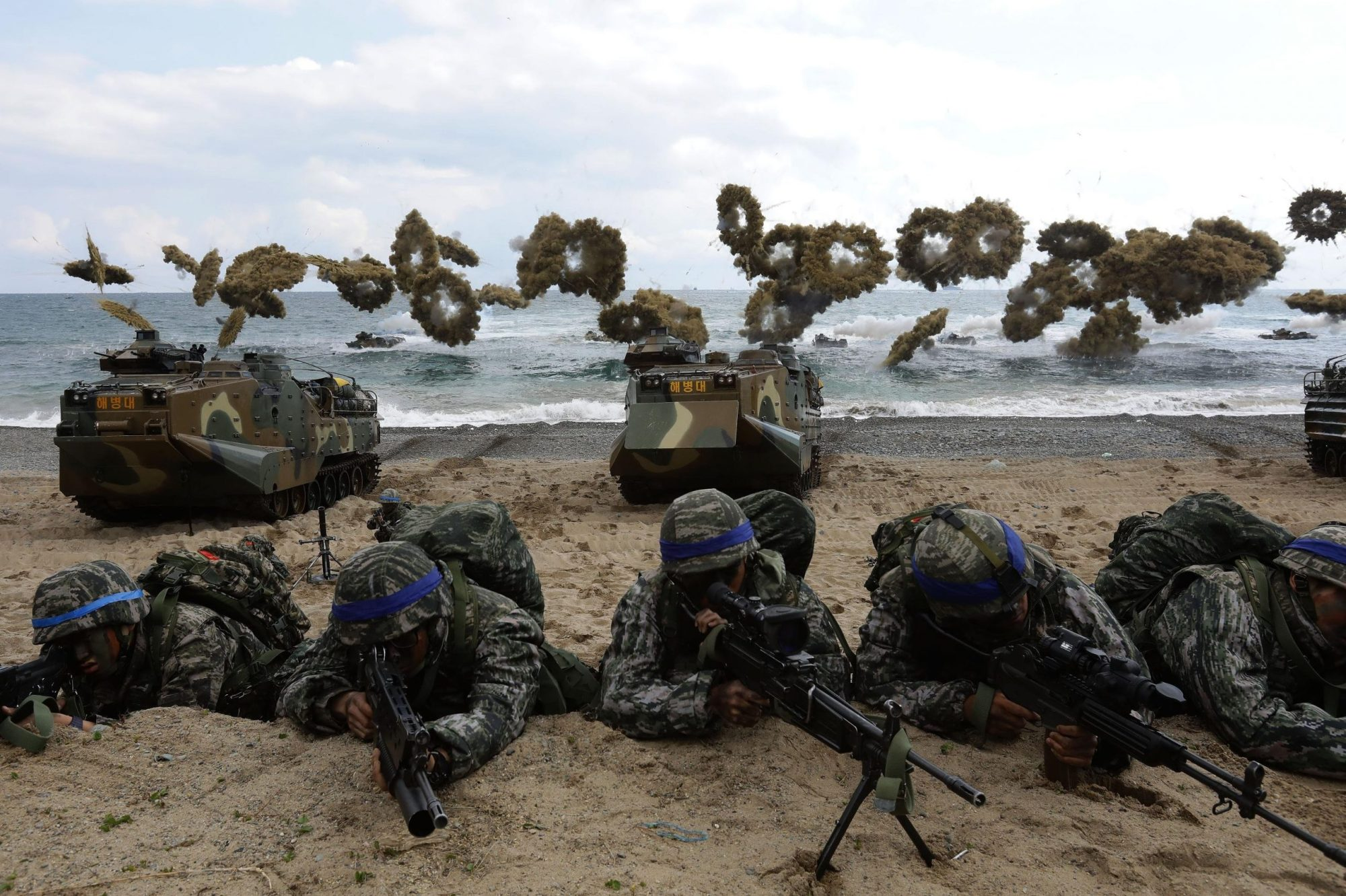 The United States and South Korea are considering scaling back upcoming joint military exercises due to the coronavirus outbreak in the Korean Peninsula, according to US Secretary of Defense Mark Esper. (Credit: Chung Sung-Jun/Getty Images AsiaPac/Getty Images)