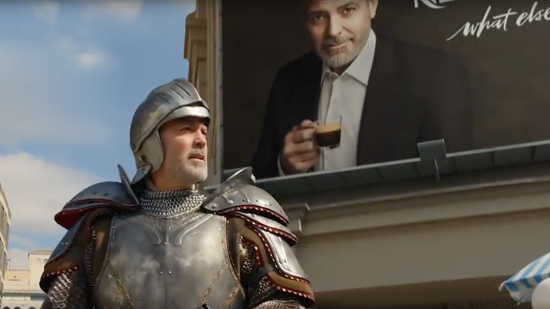 George Clooney is seen in a Nespresso ad. (Nespresso/YouTube via CNN)