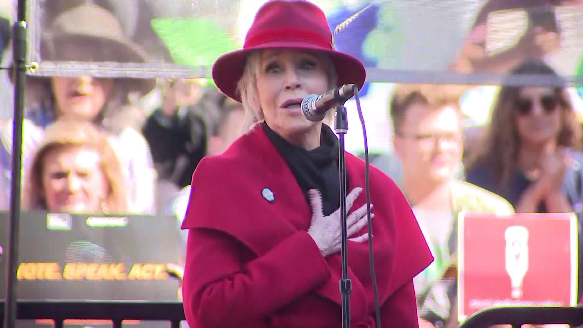Jane Fonda speaks during a climate protest in Los Angeles on Feb. 7, 2020. (Credit: KTLA)