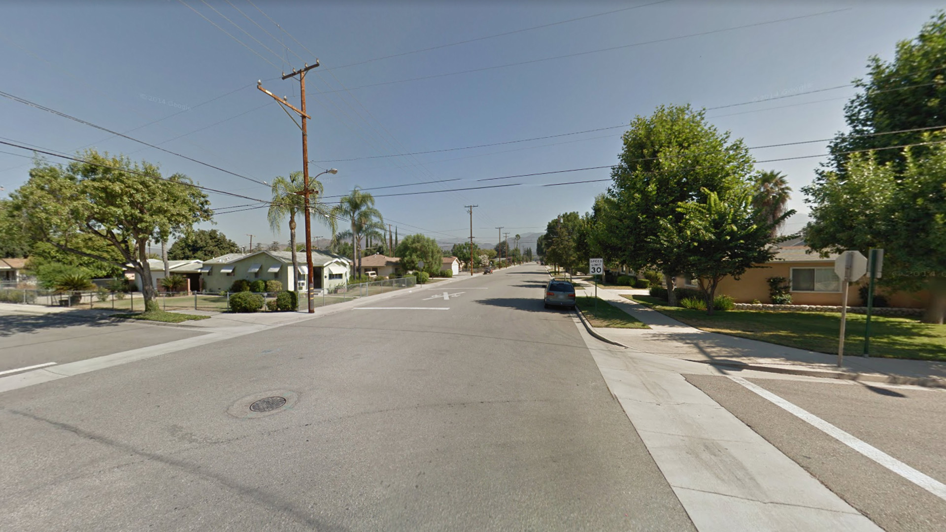 The intersection of A Street and 1st Street in La Verne is seen in an image from Google Maps.