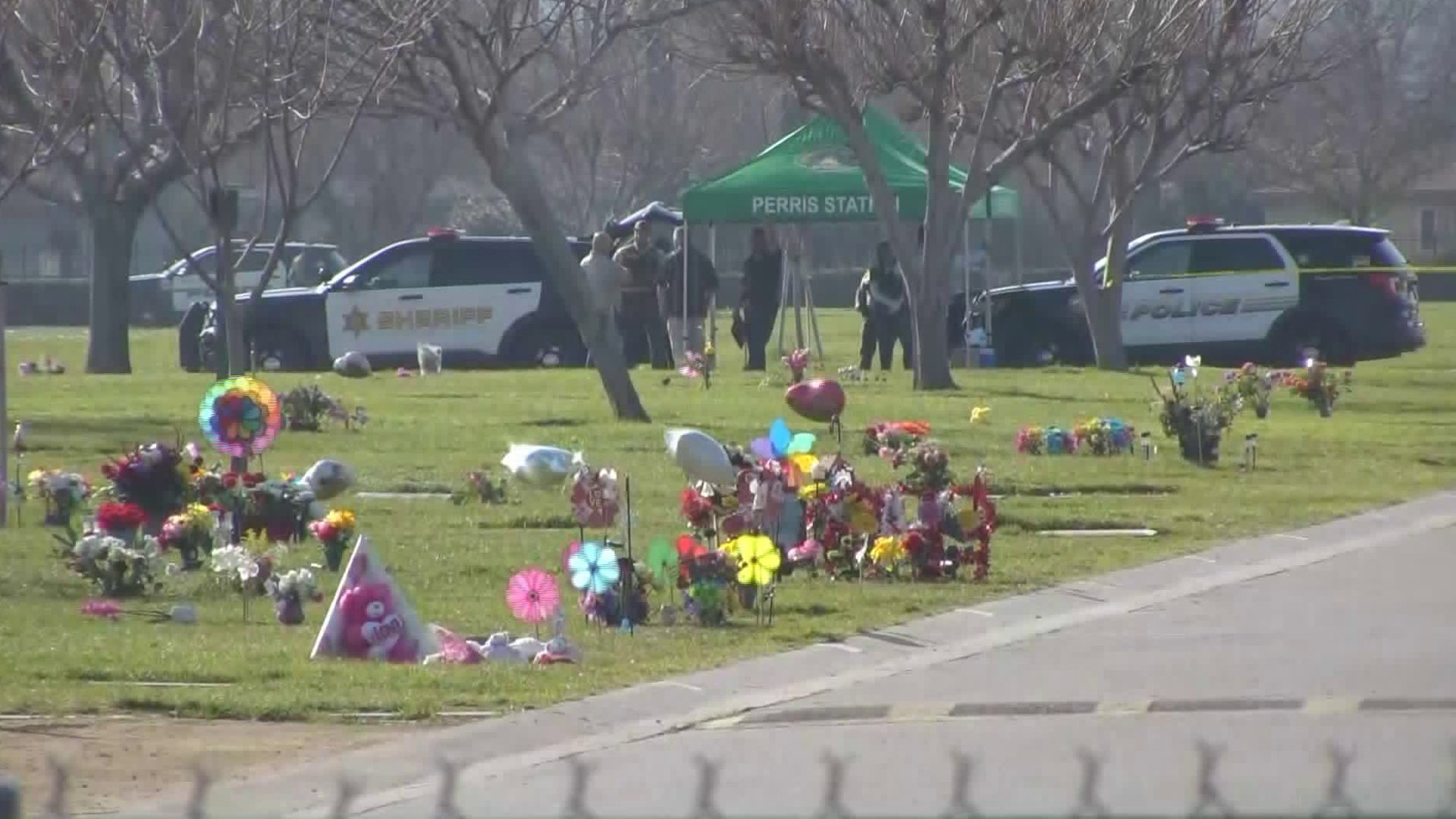 A triple homicide investigation was underway in Perris after the bodies of three men were discovered near a grave site at a cemetery on Feb. 17, 2020. (Credit: KTLA)