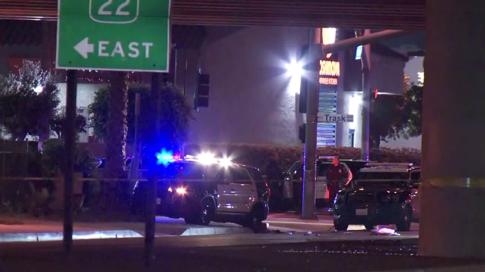 Authorities investigate a shooting in Garden Grove on Feb. 26, 2020. (KTLA)