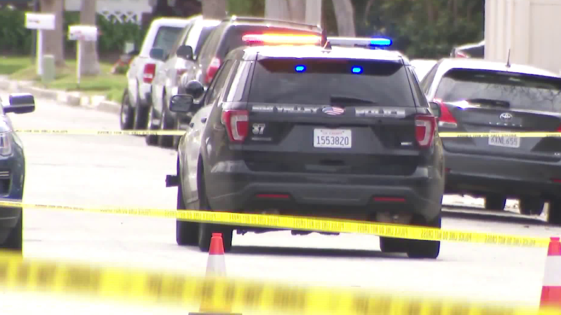 Police respond to a homicide scene in Simi Valley on Feb. 27, 2020. (KTLA)