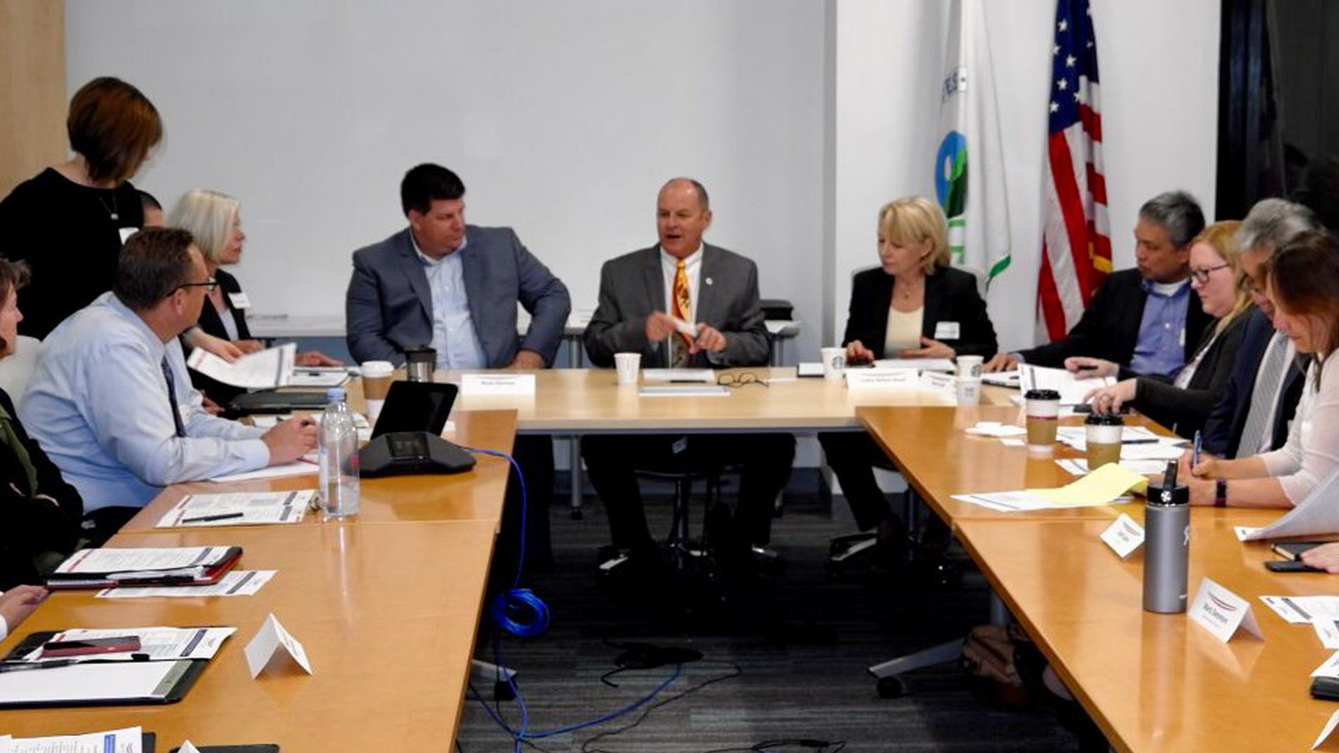 Regional administrator Mike Stoker, center, presides over a meeting with oils and gas industry representatives in Los Angeles in an image tweeted by the Environmental Protection Agency's District 9 on April 24, 2019.