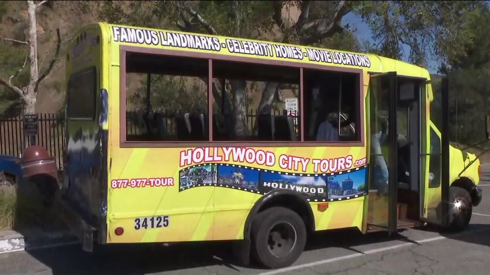 A tour bus is seen in a file photo. (KTLA)