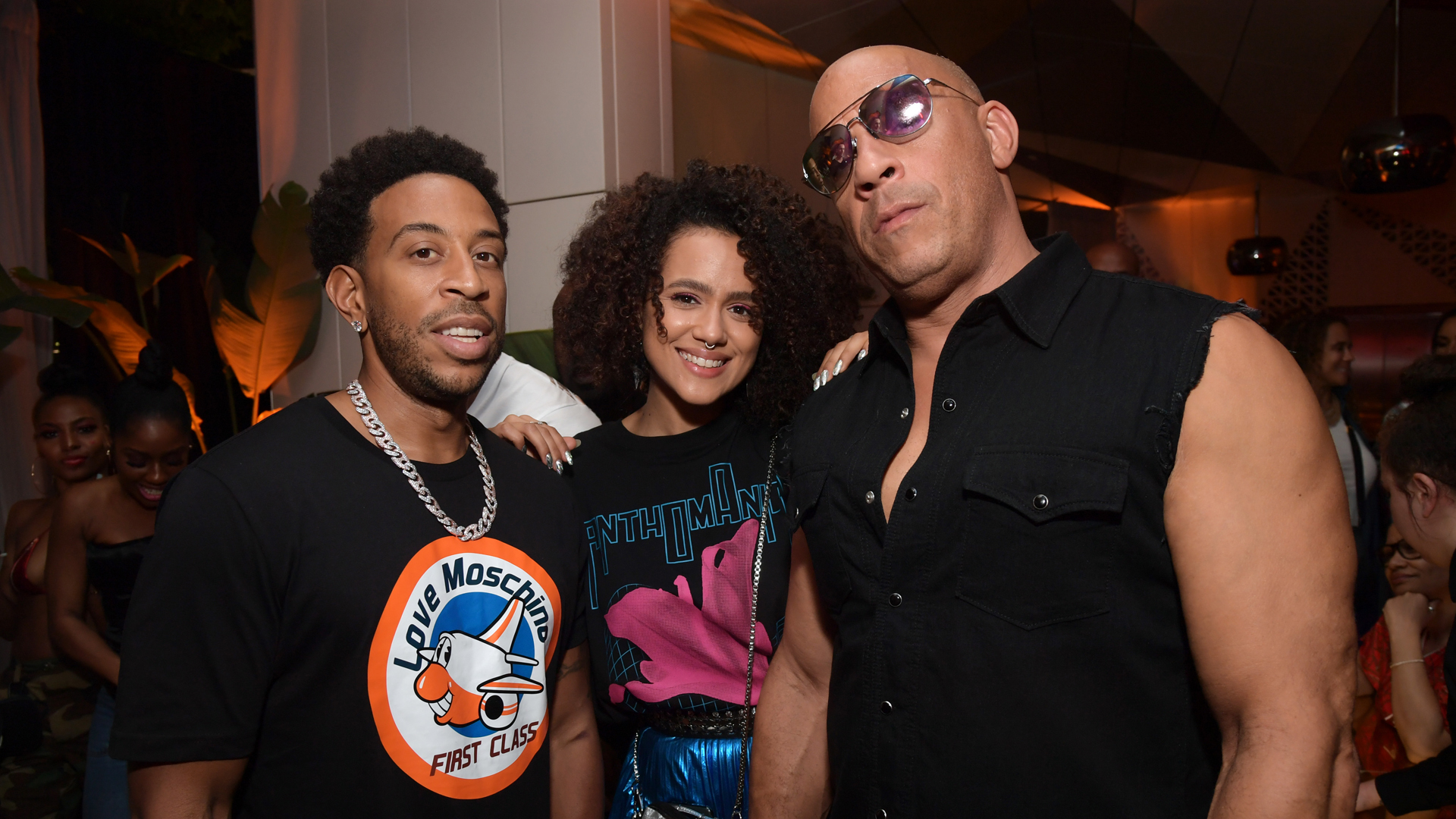 "Chris ""Ludacris"" Bridges, Nathalie Emmanuel and Vin Diesel attend the Fast & Furious F9 After Party at Kaido Miami on Jan. 31, 2020, in Miami. (Jason Kempin/Getty Images for Universal Pictures)"