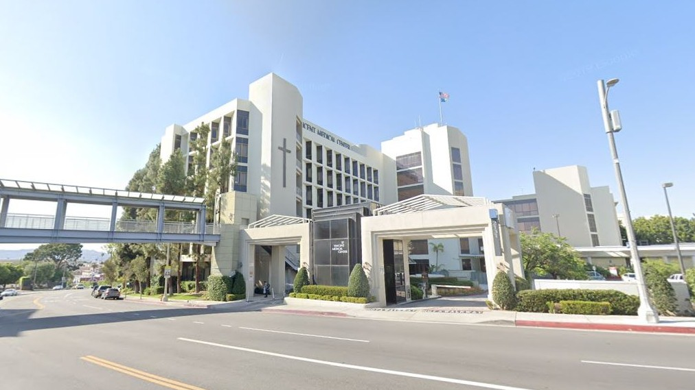 The St. Vincent Medical Center, 2131 W. 3rd Street in Los Angeles' Westlake district, as viewed in a Google Street View image.