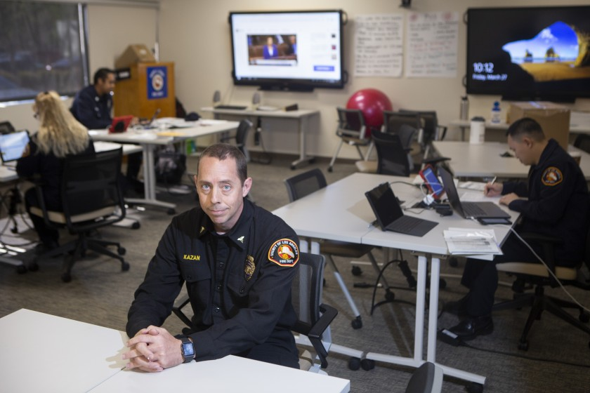 Clayton Kazan, an ER physician and medical director at the L.A. County Fire Department, at his office in Monterey Park. He is coordinating testing in the county.(Gabriella Angotti-Jones / Los Angeles Times)
