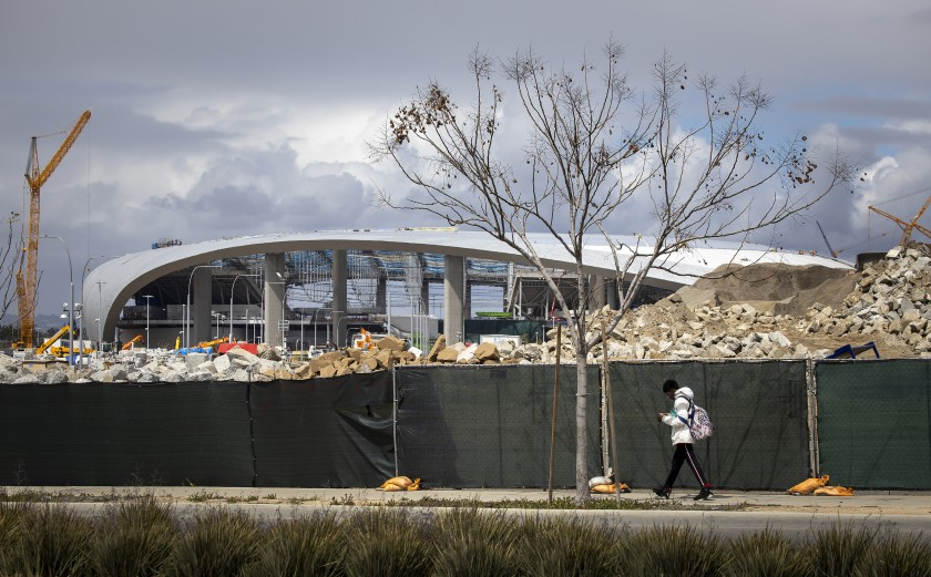 SoFi Stadium in Inglewood is under construction in this undated photo. (Allen J. Schaben/Los Angeles Times)