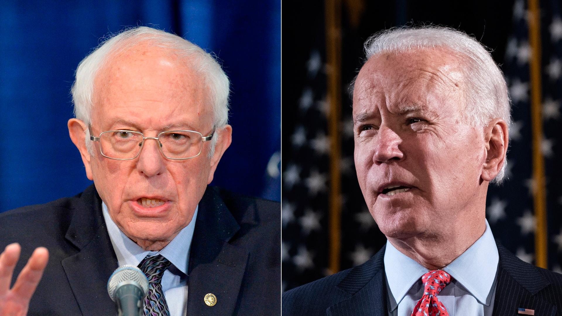 Sen. Bernie Sanders and former Vice President Joe Biden are seen separately giving remarks on coronavirus on March 11, 2020. (Credit: Getty Images; left, Drew Angerer; right, JOSEPH PREZIOSO/AFP)