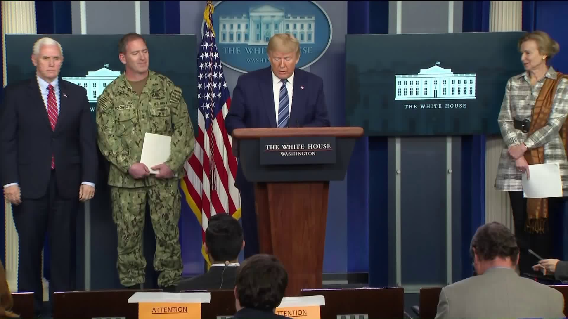 President Donald Trump and other federal officials provide an update on the COVID-19 pandemic at the White House on April 5, 2020. (KTLA)