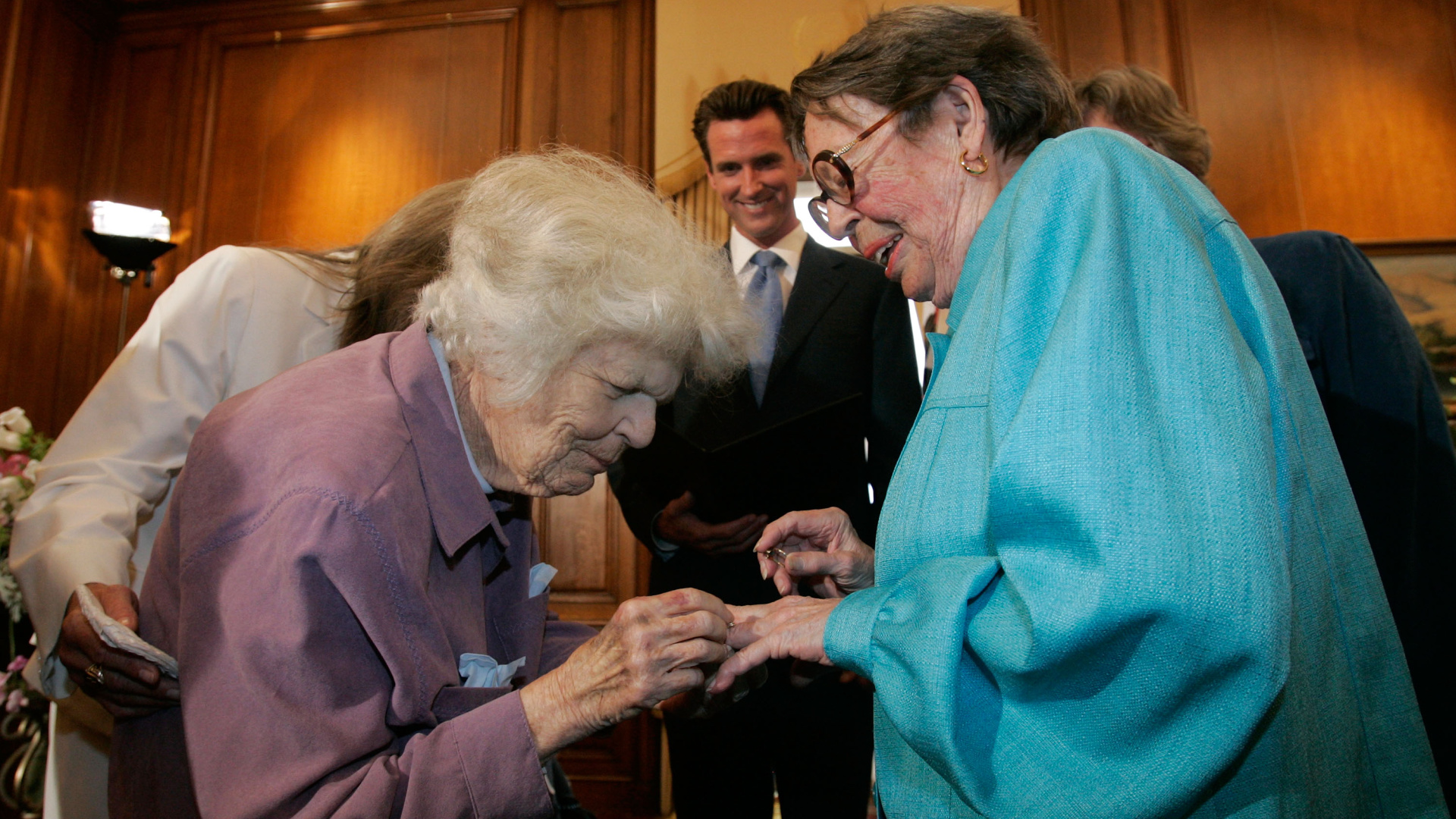 Del Martin (left) and Phyllis Lyon (right) exchange rings as they are married by San Francisco mayor Gavin Newsom in a private ceremony at San Francisco City Hall June 16, 2008, in San Francisco. (Marcio Jose Sanchez-Pool/Getty Images)