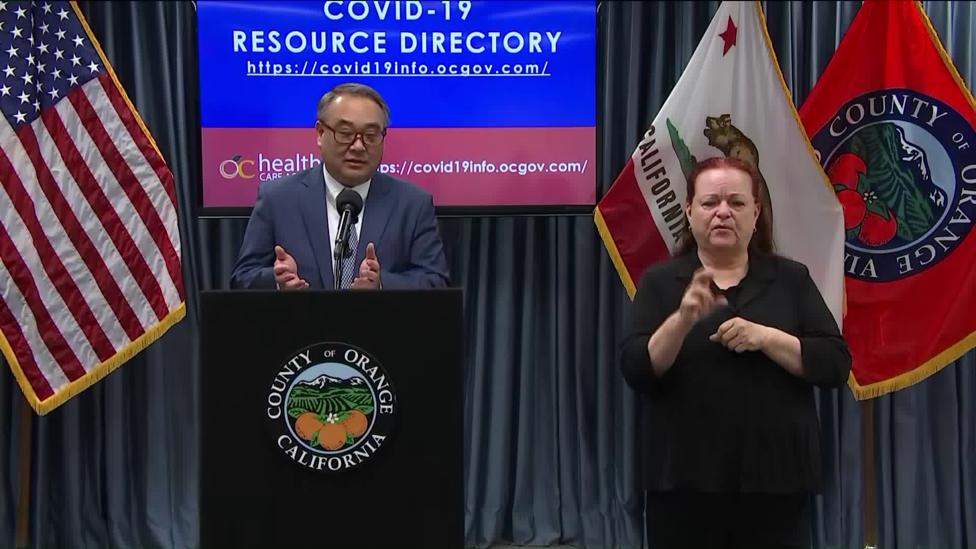 Orange County officials discuss the COVID-19 outbreak during a conference on April 2, 2020. (KTLA)