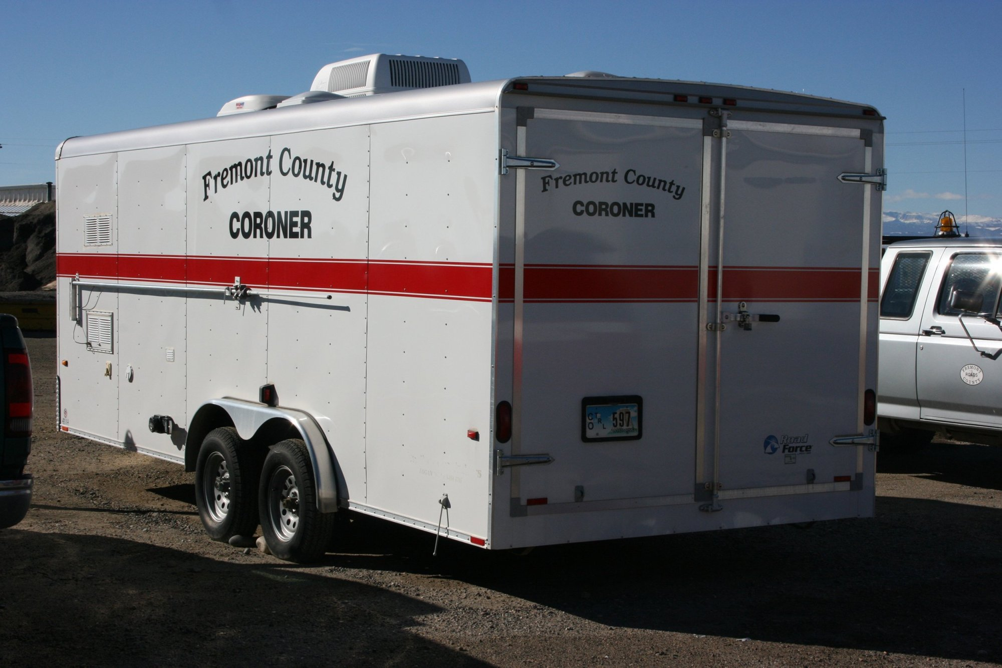A coroner's vehicle is seen in Wyoming on April 6, 2020. (Fremont County Coroner)