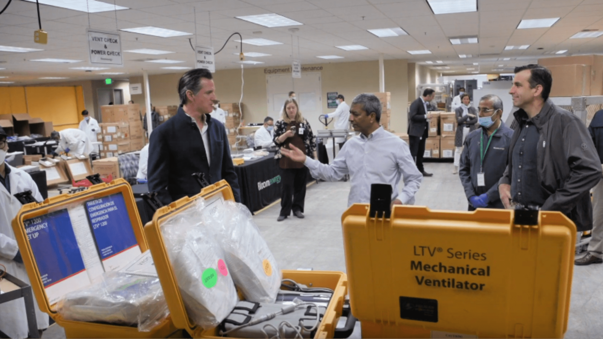 Governor Newsom, Mayor Liccardo and Bloom Energy CEO KR Sridhar visit a ventilator refurbishing site in Sunnyvale on March 28, 2020. Newsom said the state had received 170 broken ventilators from the federal government that are being refurbished by Bloom Energy.(The Office of the Governor)