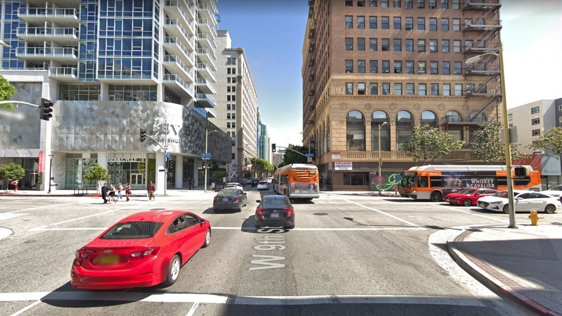 The intersection of Olive and 9th streets in downtown Los Angeles, as pictured in a Google Street View image.