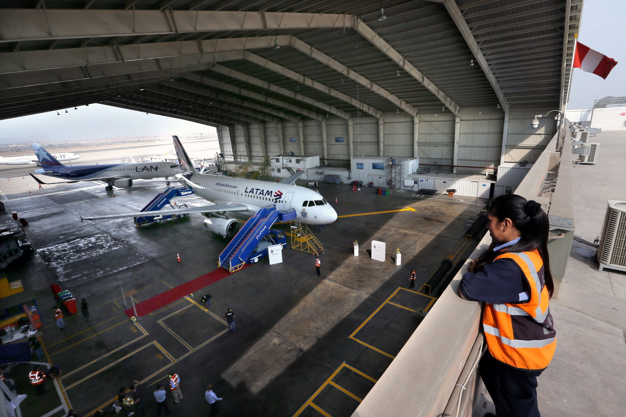 The Airbus A319 operated by LATAM Airlines is pictured at a hangar before its official presentation in Callao, Peru on January 16, 2018. (LUKA GONZALES/AFP via Getty Images)