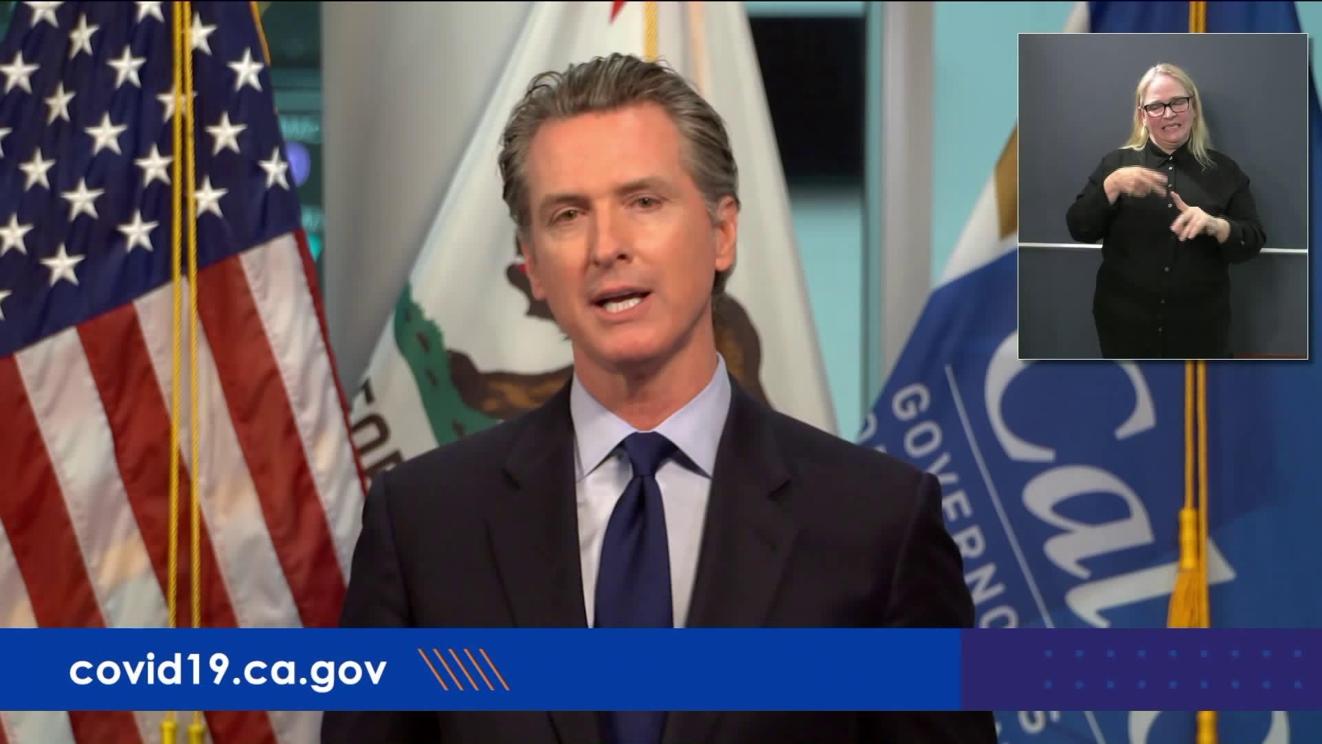 Gov. Gavin Newsom speaks at a news briefing on May 1, 2020.