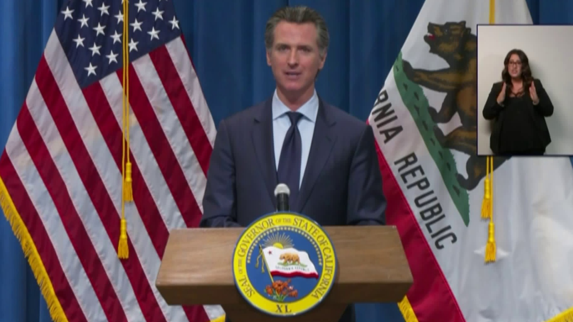 Gov. Gavin Newsom speaks at a news conference on May 14, 2020. (Pool)