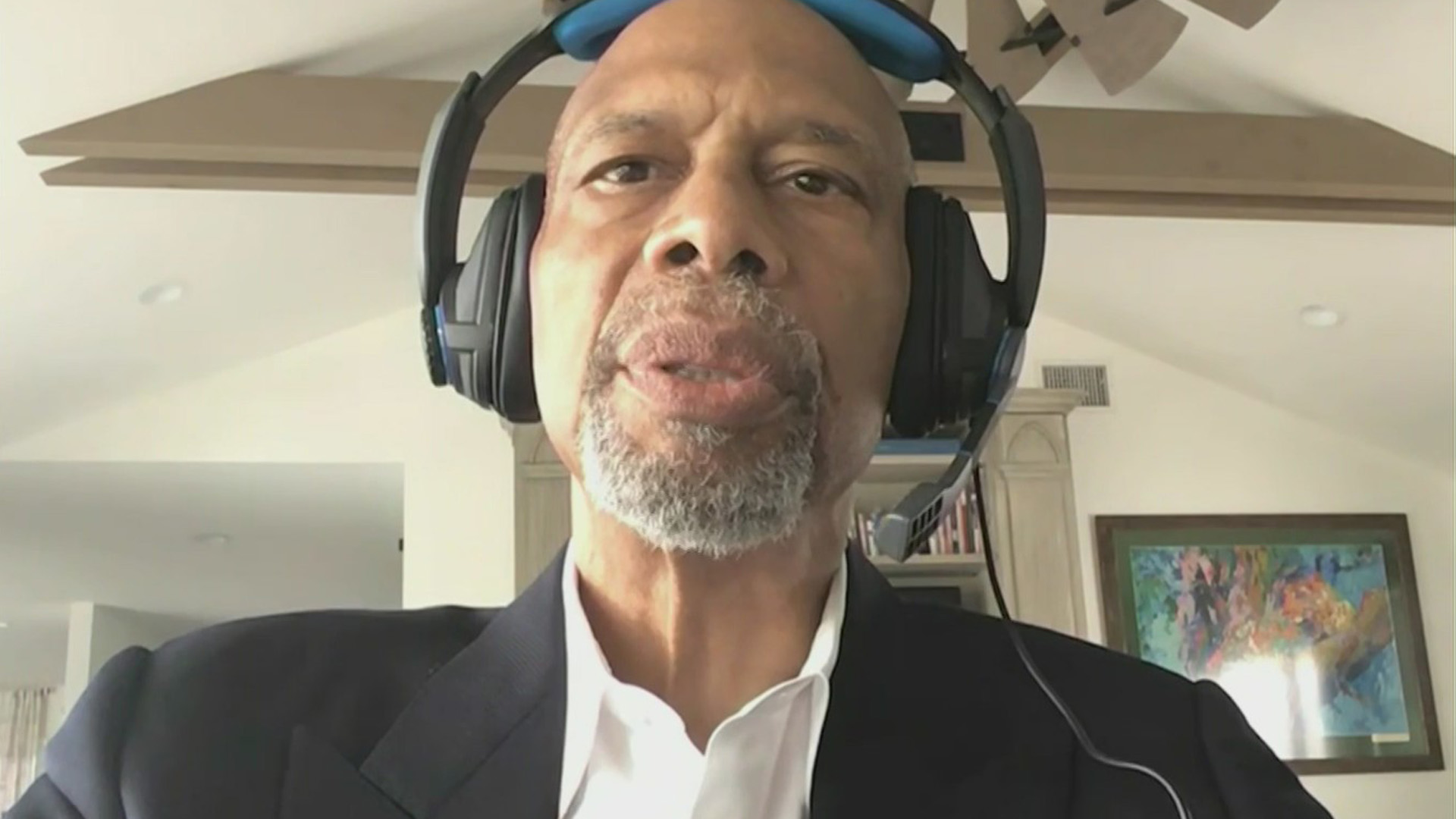 Lakers Kareem Abdul-Jabbar appears in an interview with KTLA on May 31, 2020. (KTLA)