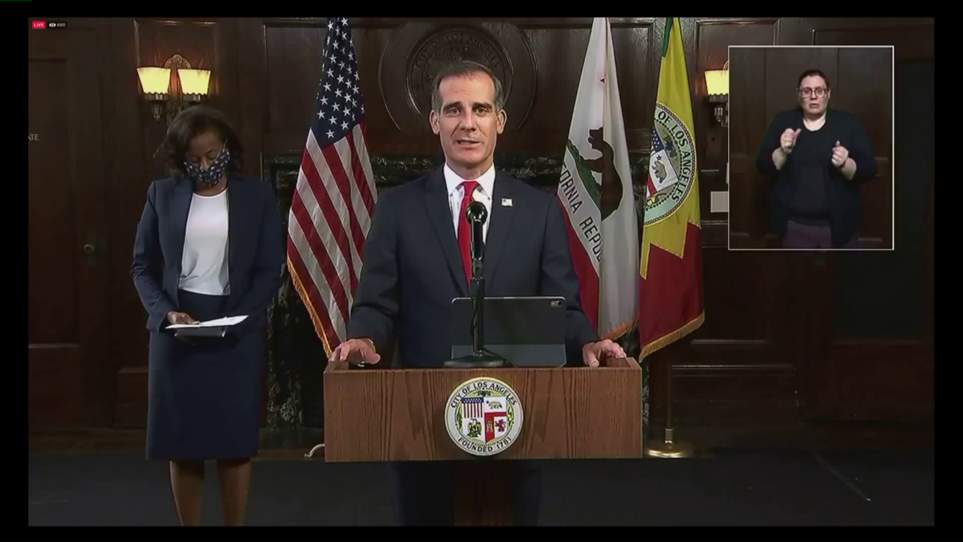 Los Angeles Mayor Eric Garcetti holds a press conference on June 5, 2020. (KTLA)