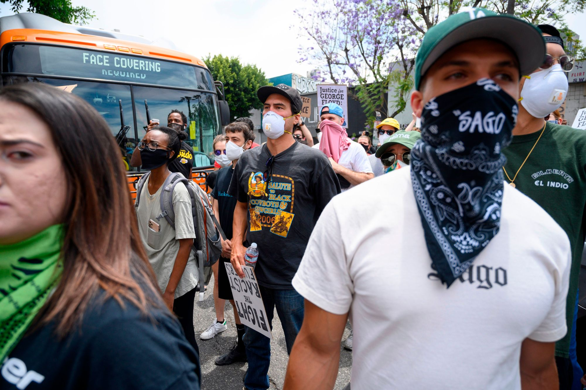 Demonstrators march through the streets of Hollywood, on June 2, 2020, to protest the death of George Floyd at the hands of police.(ROBYN BECK / AFP / Getty Images)