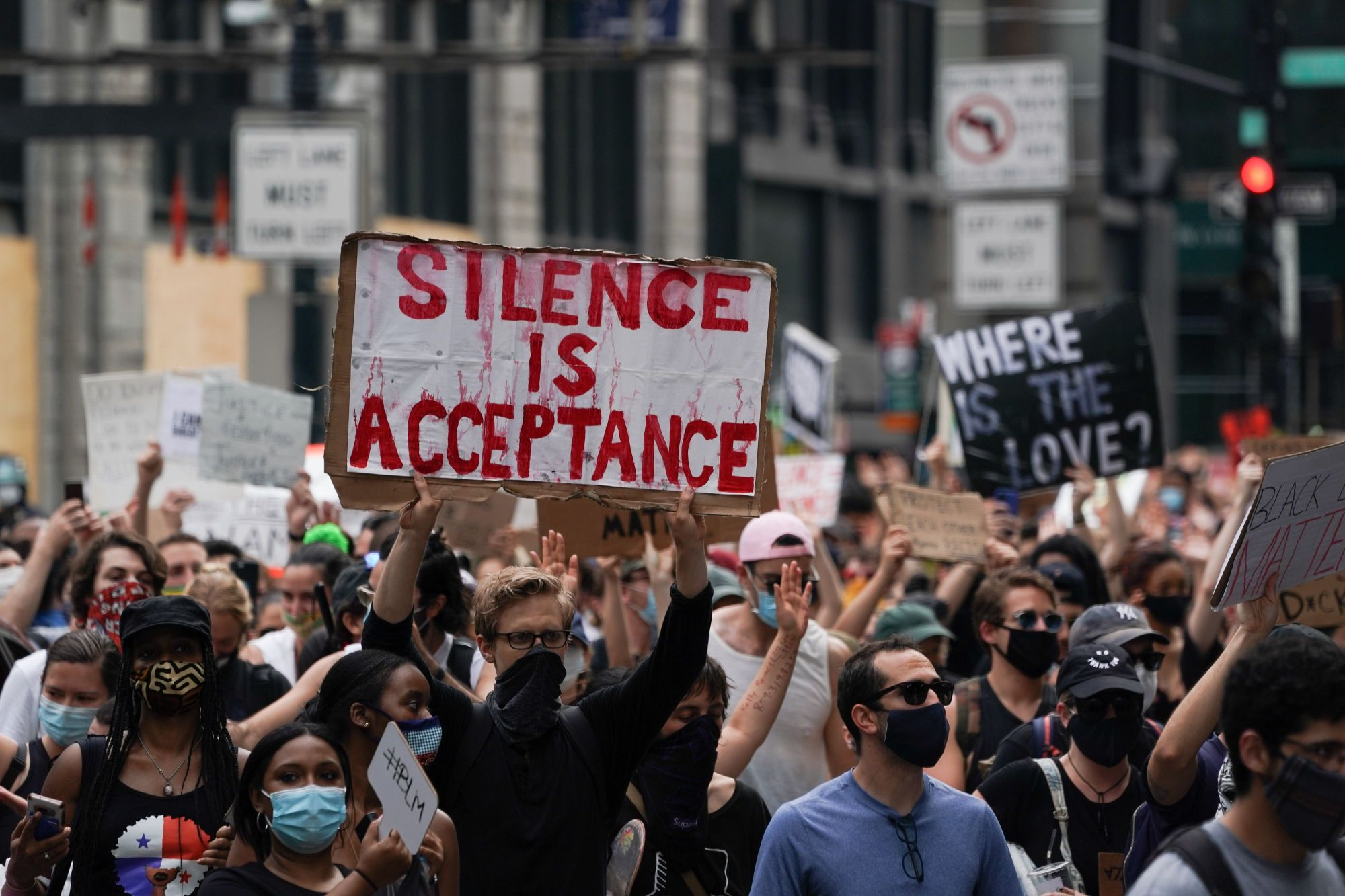 Protesters walk through traffic in lower Manhattan during a peaceful protest against police brutality and racism, on June 6, 2020, in New York.(BRYAN R. SMITH/AFP via Getty Images)