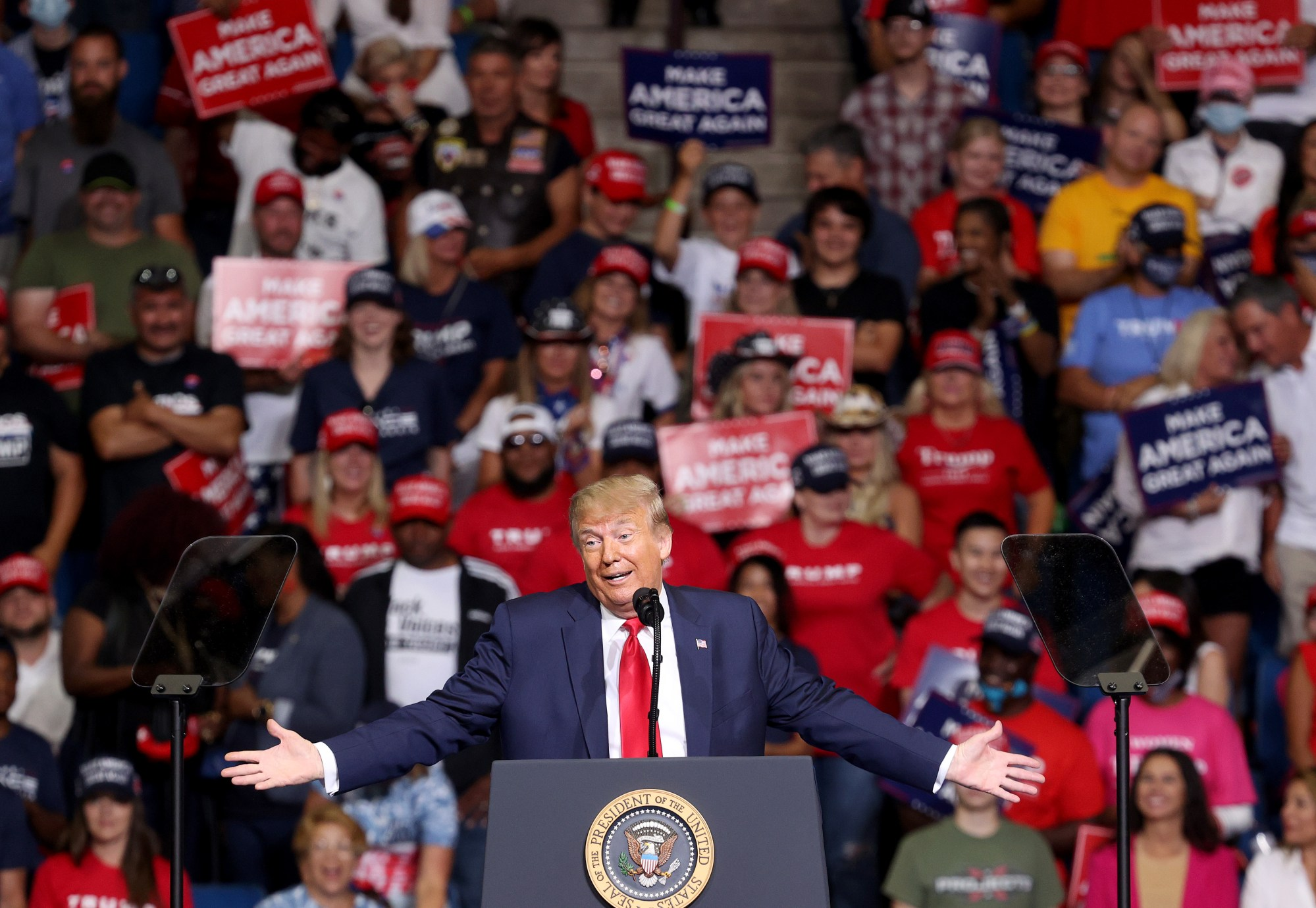 U.S. President Donald Trump speaks at a campaign rally at the BOK Center, June 20, 2020, in Tulsa, Oklahoma. (Win McNamee/Getty Images)