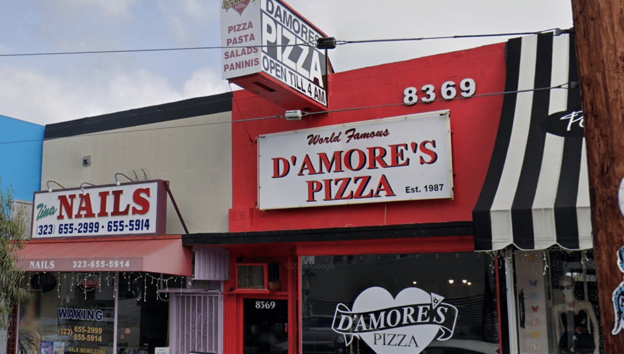 D'Amore's Pizza on West 3rd Street in Central L.A. is seen in a Google Maps Street View image.