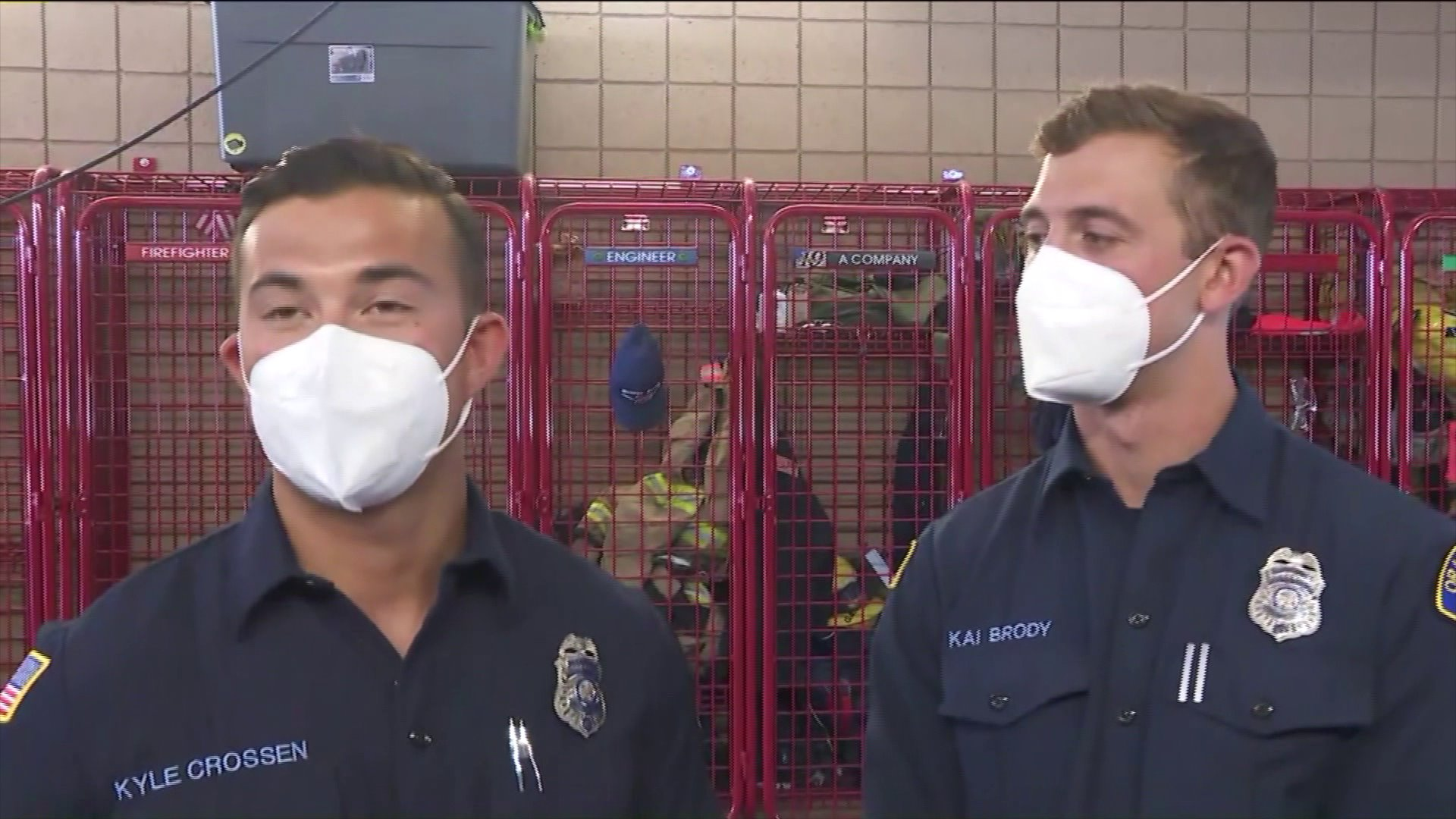 Two firefighters helped deliver a baby on July 3, 2020. (KTLA)