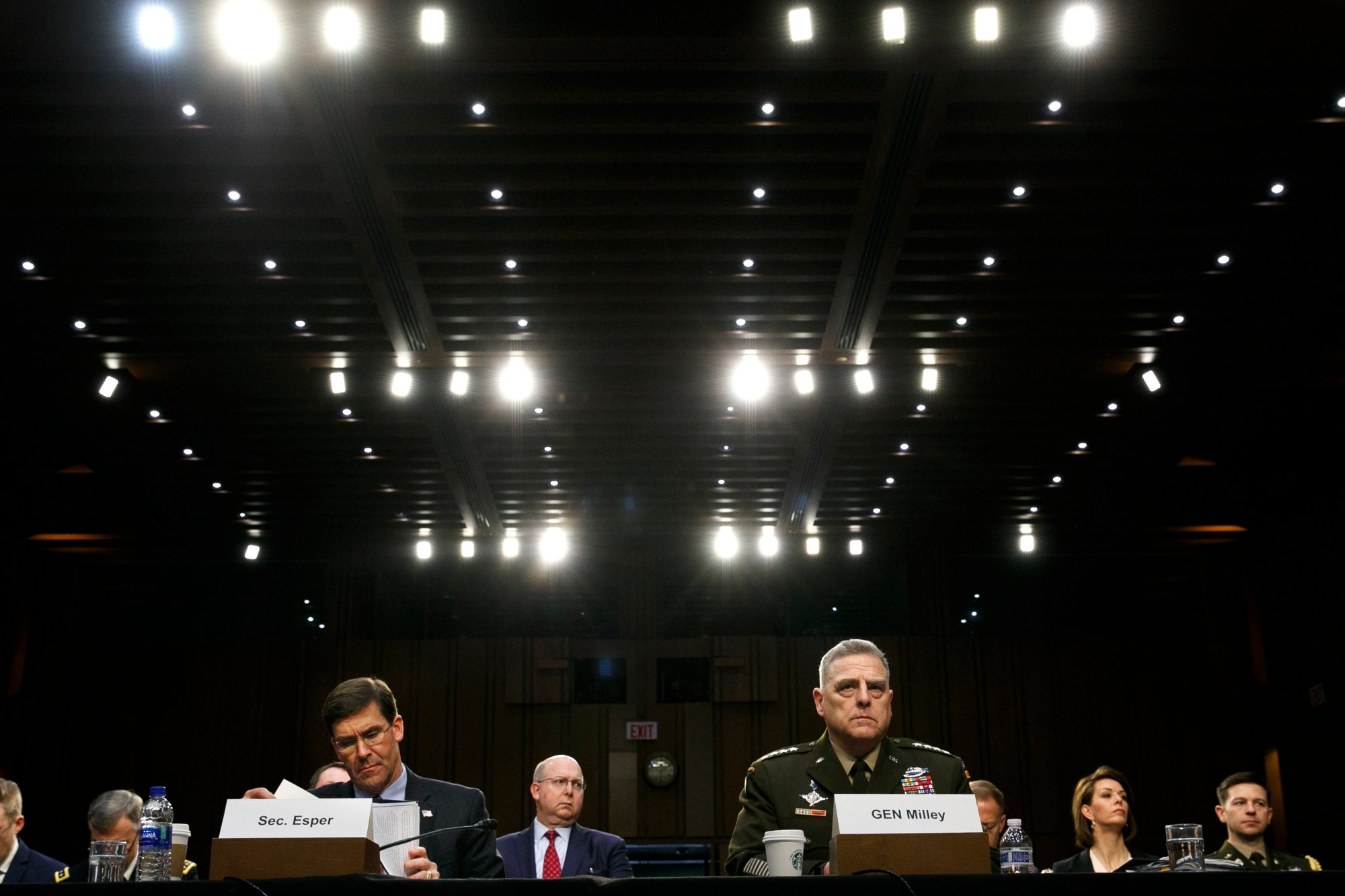 Defense Secretary Mark Esper, left, and Chairman of the Joint Chiefs of Staff Gen. Mark Milley, listen during a Senate Armed Services Committee on budget posture on Capitol Hill in Washington, on March 4, 2020. (AP Photo/Jacquelyn Martin, File)