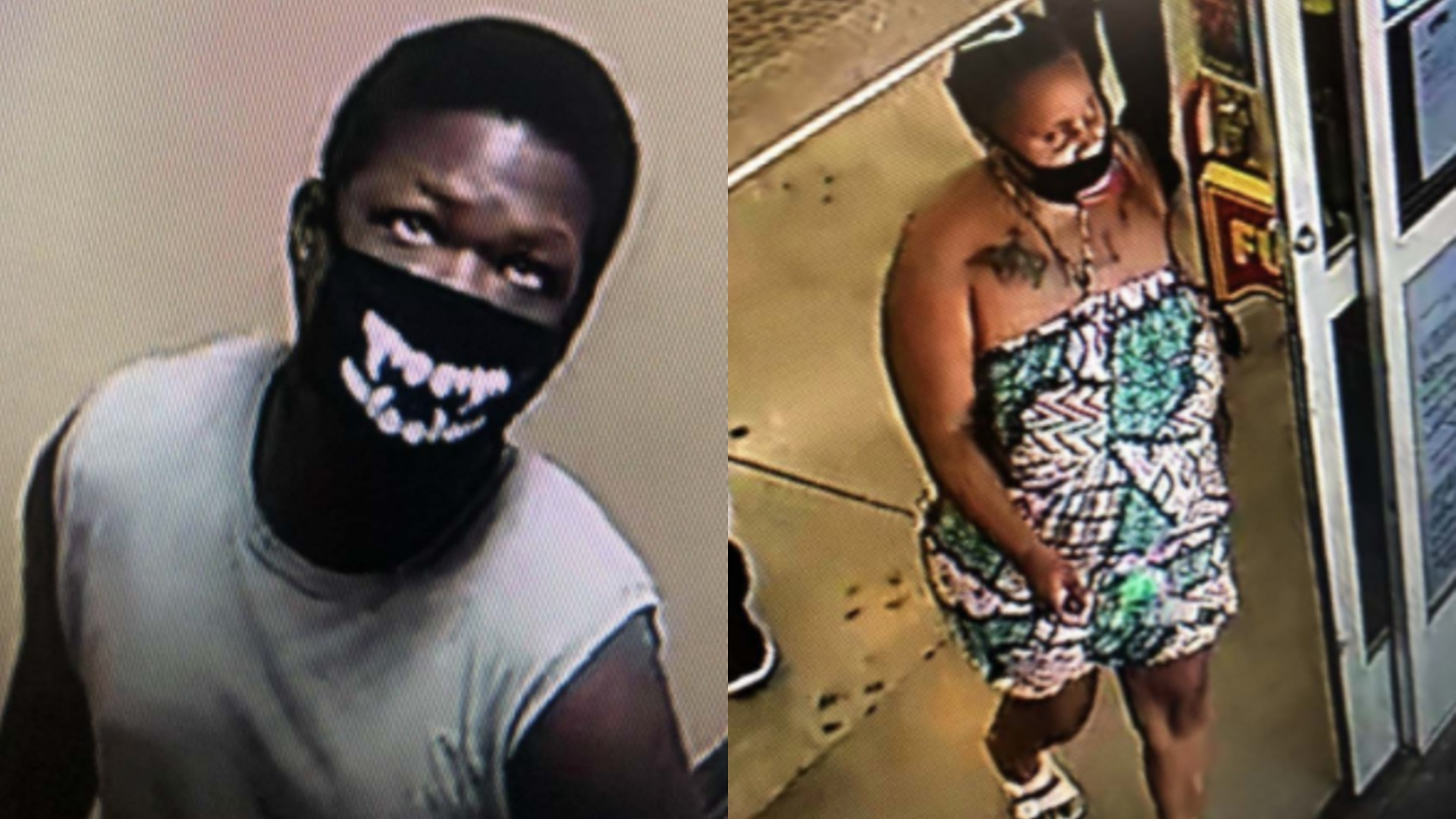 The Los Angeles County Sheriff's Department released the photos of two people sought in connection with an assault and robbery in Lancaster on July 8, 2020.
