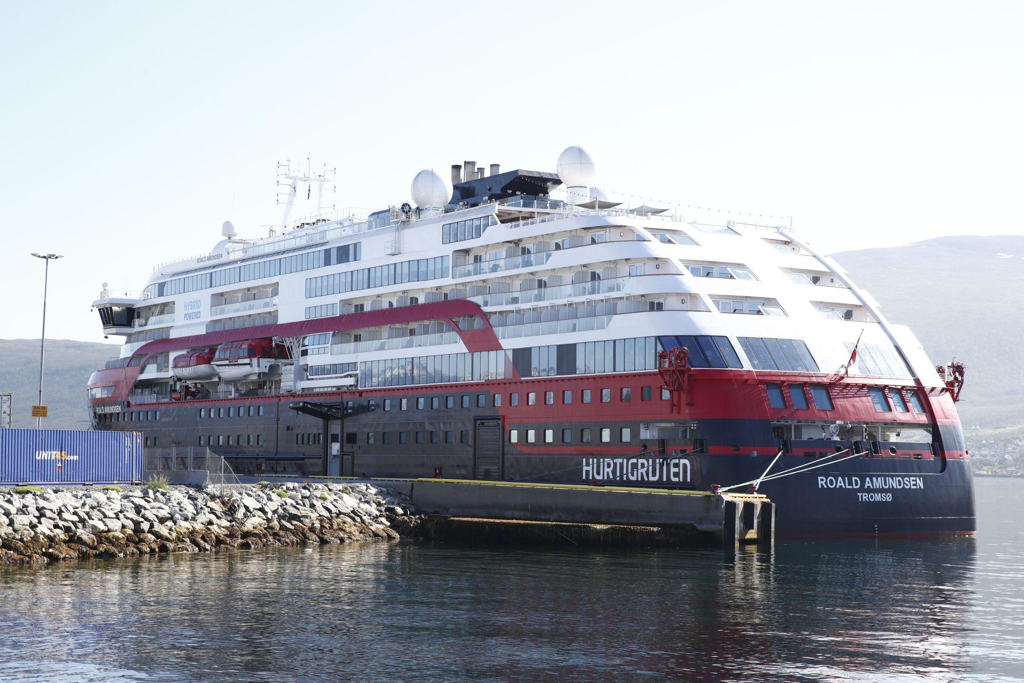 The Hurtigruten ship Roald Amundsen is moored on August 3, 2020 in Breivika, in Tromsø, northern Norway, following an outbreak of the novel coronavirus (Covid-19)on board the ship. (TERJE PEDERSEN/NTB Scanpix/AFP via Getty Images)