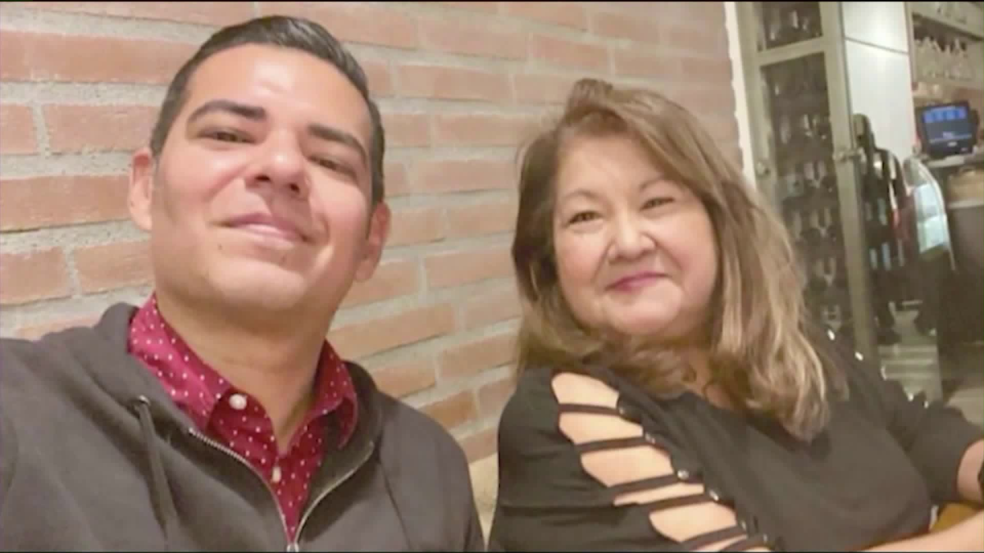 Long Beach Mayor Robert Garcia, left, and his mother, Gaby O'Donnell, are seen in an undated photo released after her death was announced on July 27, 2020.