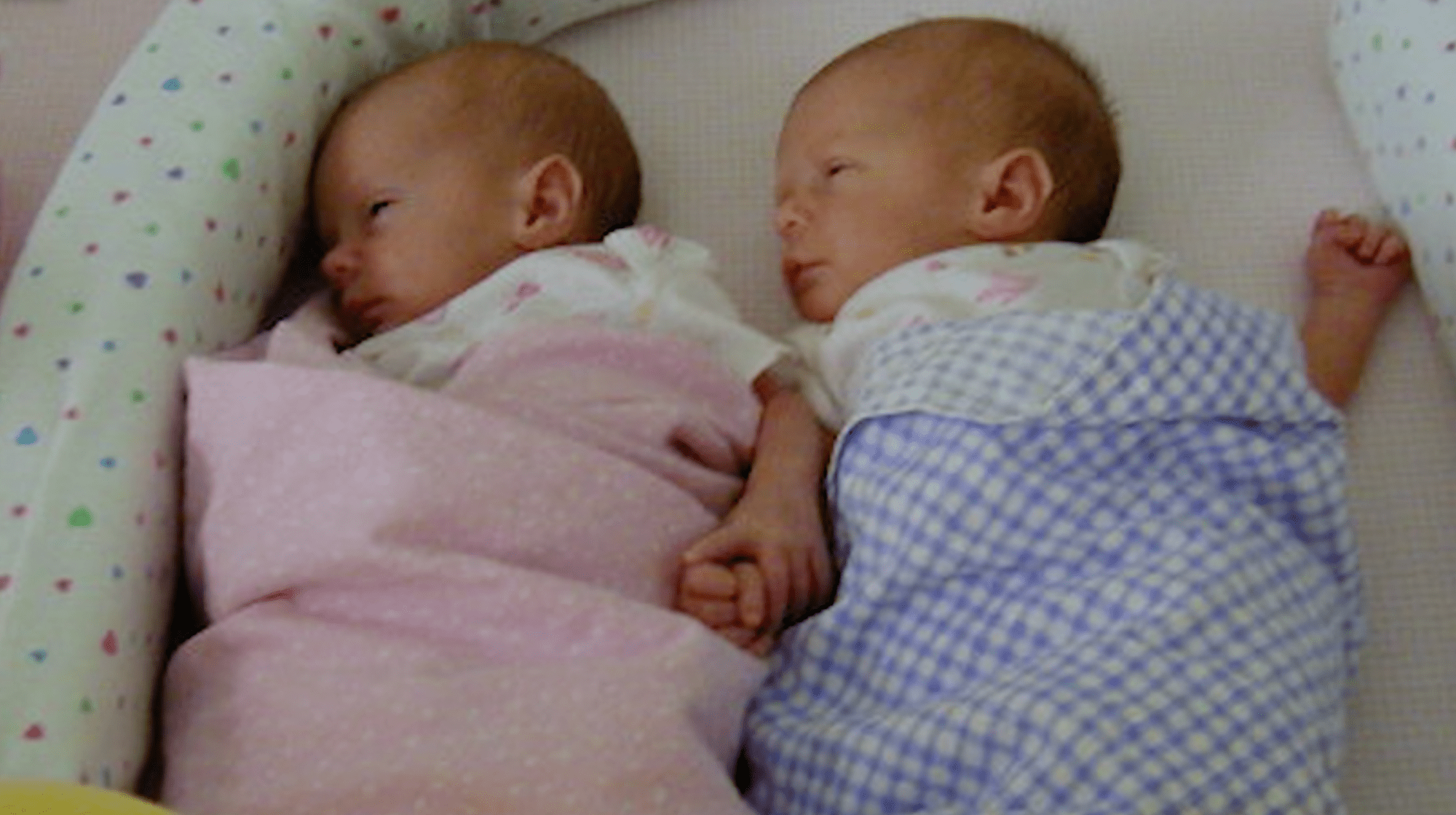 Twins Aspen and Ashley Somers are seen in a baby photo of them shared by their family.