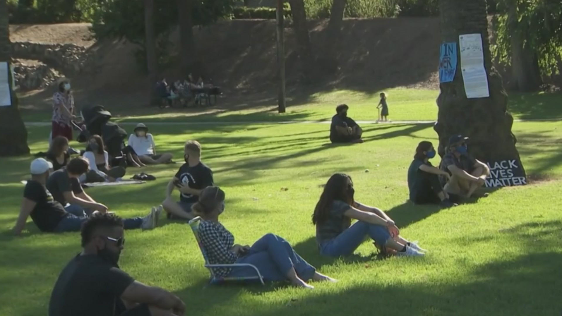 People attend a Black Lives Matter rally at a park in South Pasadena on Aug. 9, 2020. (KTLA)