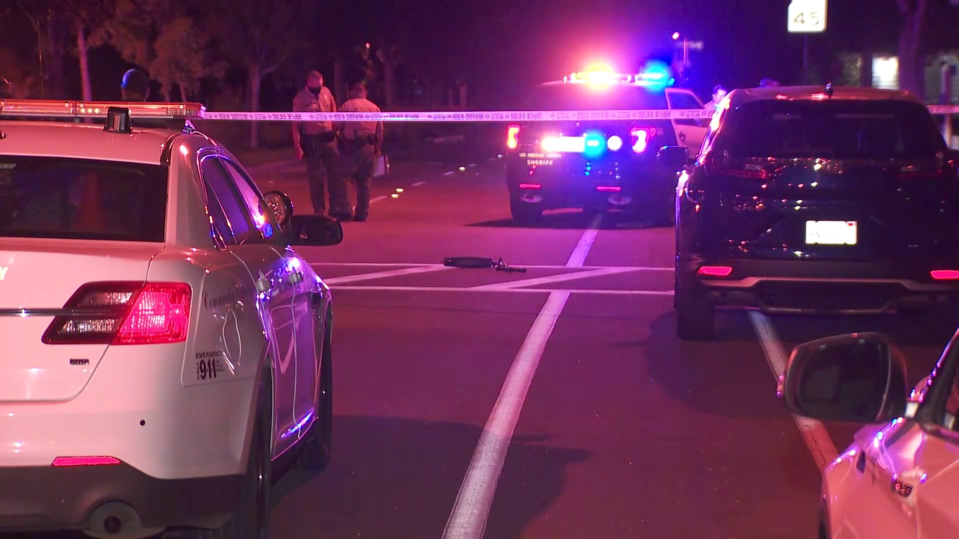 The scene of a fatal crash in Westlake Village is cordoned off on Sept. 29, 2020. (KTLA)