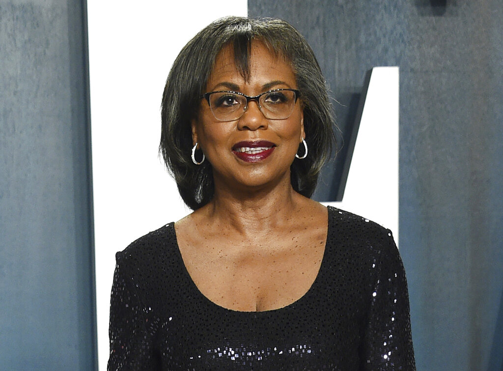 Anita Hill arrives at the Vanity Fair Oscar Party in Beverly Hills, Calif. on Feb. 9, 2020. (Evan Agostini/Invision/AP, File)