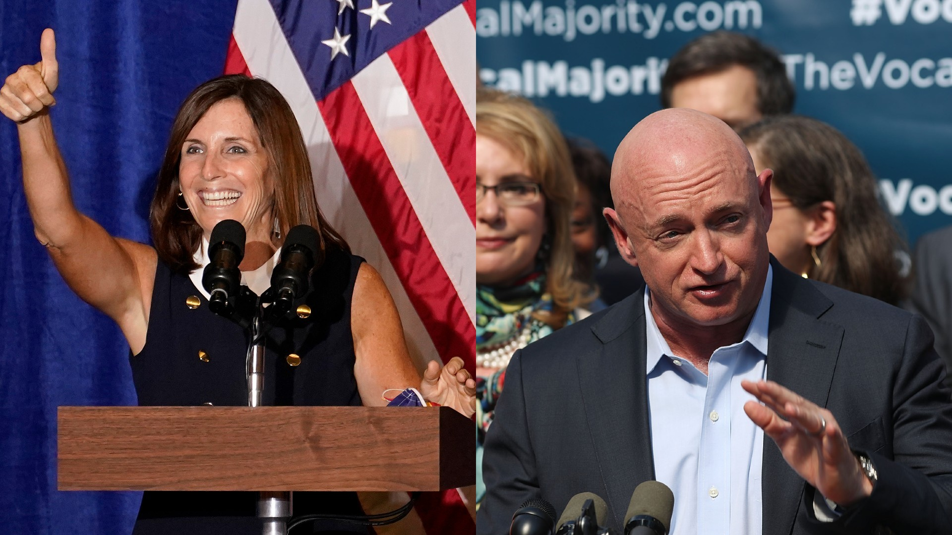 Left: Sen. Martha McSally, R-Ariz., speaks at a Veterans for Trump campaign rally, Friday, Sept. 18, 2020, in Litchfield Park, Ariz. (AP Photo/Matt York); Right: NASA astronaut Mark Kelly speaks at a 2016 Vocal Majority Tour on Oct. 17, 2016, in New York City. (Spencer Platt/Getty Images)